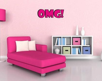 מדבקת קיר !OMG קומיקס   מדבקת קיר לחדר ילדים   מדבקות מעוצבות לבית   אותיות דביקות