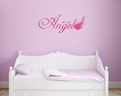 מדבקת קיר Angel   מדבקת קיר לחדר ילדים   מדבקות מעוצבות לבית   אותיות דביקות
