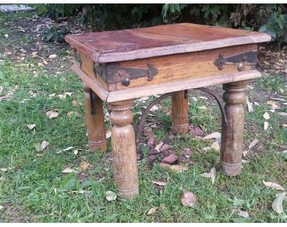 שולחן קפה, שולחן סלון מעץ סיסם מלא, שולחן ריבועי