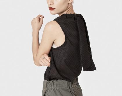 חדש! חולצת קיץ שחורה, חולצה קלילה עם קשירה