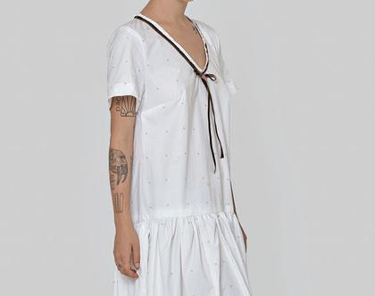 חדש! שמלה לבנה עם פרחים, שמלת כותנה, שמלת קיץ