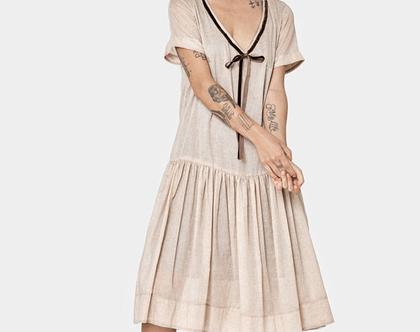 חדש! שמלה בצבע בז' עם פרחים, שמלת כותנה, שמלת קיץ