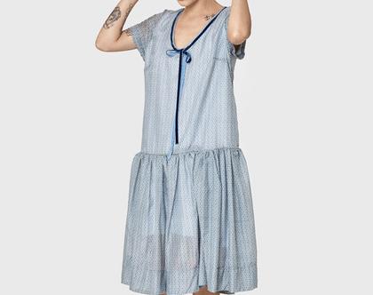 חדש! שמלה בצבע אפור עם פרחים, שמלת כותנה, שמלת קיץ