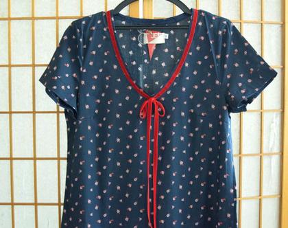 חדש! שמלה בצבע כחול עם פרחים, שמלת כותנה, שמלת קיץ