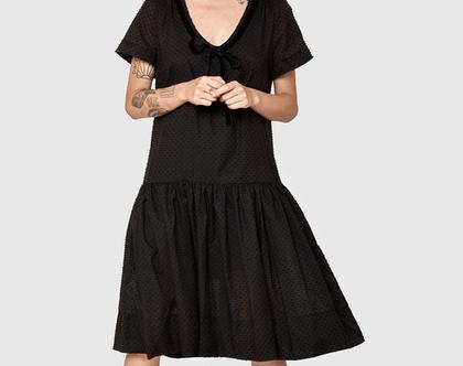 חדש! שמלה שחורה עם נקודות, שמלת כותנה, שמלת קיץ