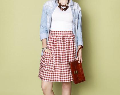 חצאית כיווץ משובץ אדום