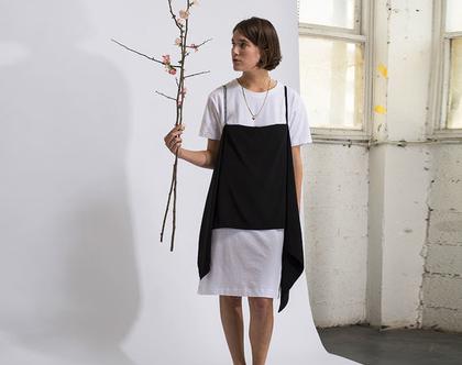 שמלת טישירט 2 שכבות, שמלת סינר שחור לבן.