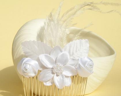 מסרקה לכלה זר פרחים עם קישוט נוצה