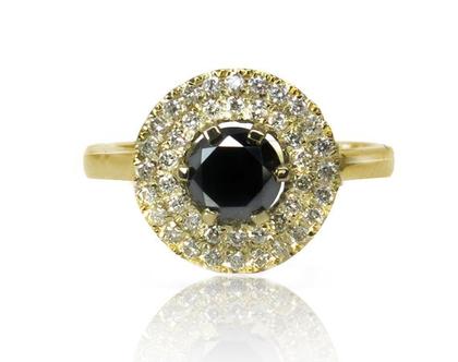 טבעת רויאל פרינסס מזהב 14K משובצת יהלום שחור 1.00CT ויהלומים לבנים 0.40CT