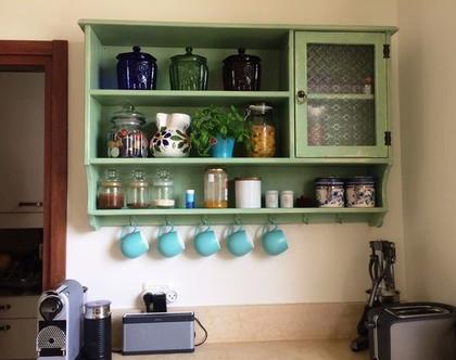 ארונית מטבח בעיצוב רטרו כפרי, ארונית כפרית למטבח, מדפים בעיצוב כפרי למטבח