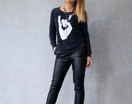 אזל מהמלאי ! מכנס פלא מבד נוח עם לייקרה בציפוי לקה גמישה שחורה דמוי עור, מכנס עם כיסים עד מידה 44