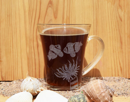 כוס זכוכית, מתנה לאוהבי הים, עבודת יד, חריטה אומנותית בעבודת יד בזכוכית וקריסטל | shiranlavishohat.com | 052-8339640