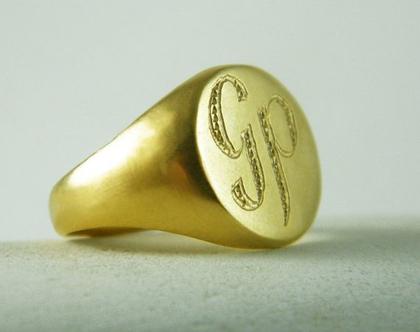טבעת חותם לגבר טבעת לגבר עם חריטה טבעת חותם עגולה