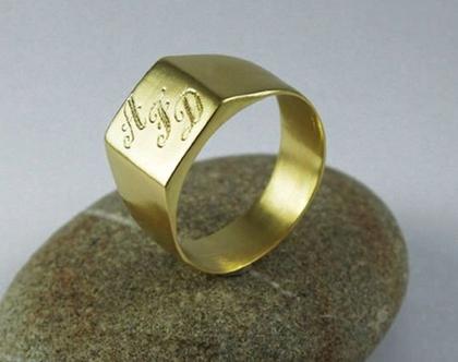טבעת חותם מרובעת לגבר טבעת חותם עם חריטה טבעת חותם מרובעת