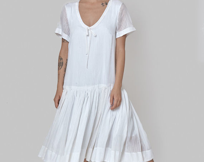 חדש! שמלה משי לבנה, שמלת קיץ לבנה, שמלת כלה