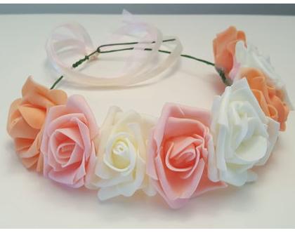 זר לראש   משי   זר פרחים   עיטור ראש   כתר   חגיגה   יום הולדת   קישוט   ורדים   שמנת   אפרסק  כתום   זר לבוק   פרום   מלאכותי