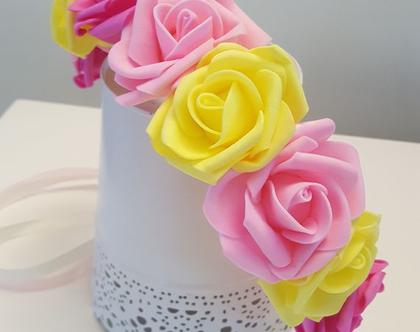 זר לראש   כתר פרחי משי   זר פרחים   עיטור ראש   חגיגה   יום הולדת   בתמצווש   קישוט   ורדים   צהוב   ורוד  פוקסיה   זר לבוק   פרום   מלאכותי