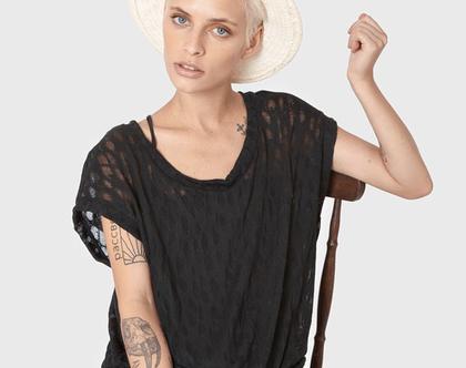 חדש! חולצת כותנה קלילה בשחור, חולצת קיץ בסריגה מיוחדת