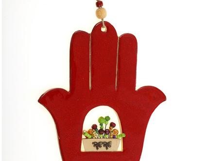 חמסה אדנית בינונית - נורית טבע. חמסה מעוצבת, חמסה מתנה לחתונה, עיצוב הבית, חמסה דקורטיבית, חמסה עבודת יד.