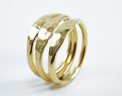טבעת זהב רקועה סט טבעות Stacking טבעות רקועות סט טבעת Stacking