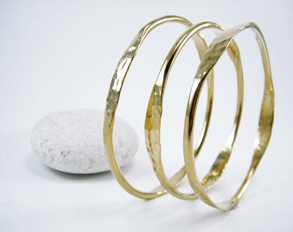 צמיד קשיח רקוע צמיד רקוע בעבודת יד סט צמיד Stacking צמיד זהב רקוע