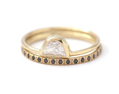 סט טבעות אירוסין בוהו, טבעת יהלום בוהמית, טבעת יהלום חצי ירח, טבעת אירוסין יהלומים שחורים, סט טבעות לכלה, טבעת יהלום 0.25 קראט, טבעות בוהו
