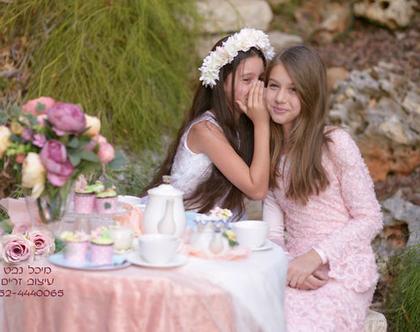 זר בת מצווה, זר בת מצווה לבן קרם , זר מלא עשוי פרחי משי, זר בת מצווה רומנטי במיוחד
