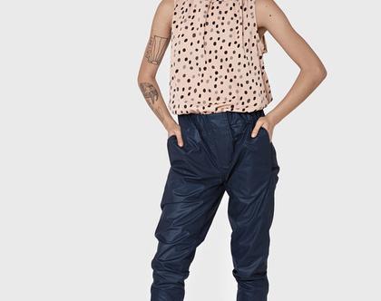 חדש! מכנס בויפרנד כחול מבריק עם כיסים, מכנס קיץ, מכנסיים קליים