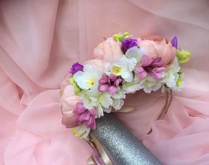 זר בת מצווה פרחי משי לראש, זר גדול ומלא בצבעי ורוד עתיק, לבן, ומעט סגול בהיר וכהה