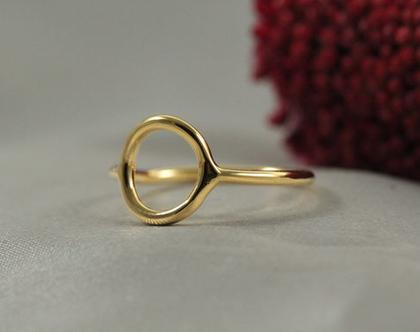 טבעת זהב עיגול עדין 14K| טבעת זהב 14K | טבעת זהב 14K מיוחדת | טבעת מעוצבת | תכשיטים בעבודת יד | זהב 14K | מתנה לחברה