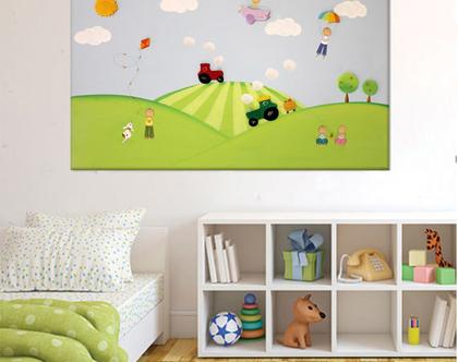 תמונה מעוצבת לחדר ילדים - ילדי המושב הפסטורלי ❤ ❤