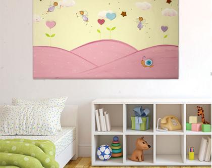 תמונה לחדר ילדות - פיות עם פרחים בגווני פסטל עדינים :)