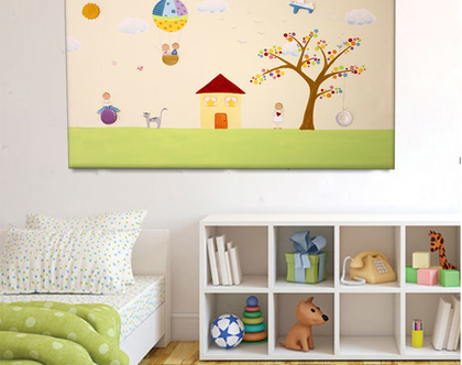 תמונה מקורית לחדר ילדים - העץ הנדיב והצבעוני ❤ ❤