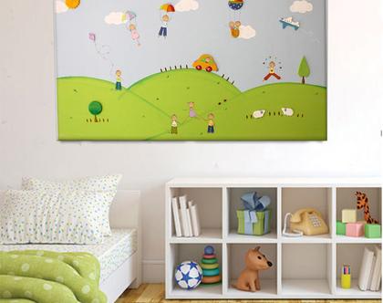תמונת קנבס מעוצבת לחדר ילדים - כדורים פורחים בשמיים וילדים מאושרים בטבע הקסום!❤ ❤