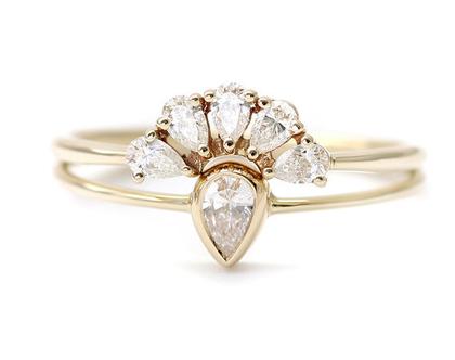 טבעת אירוסין יהלום טיפה, סט טבעות אירוסין, טבעת יהלומים, טבעת יהלום טיפה, סט אירוסין נישואין, טבעת יהלום 0.10 קראט