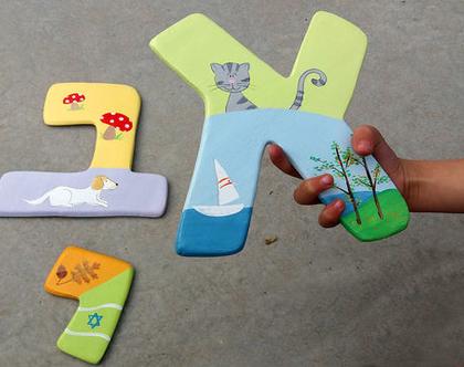 אותיות מעוצבות - אותיות לחדר ילדים - מתנת מקורית ללידה