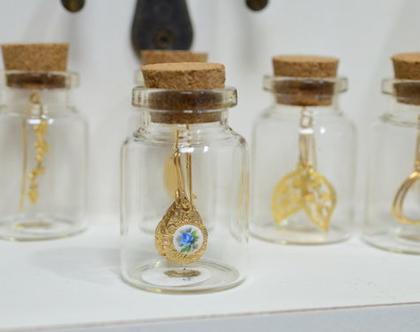 עגילי גולדפילד תלויים| עגילים ארוכים עם פרח תכלת