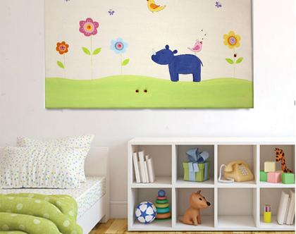 תמונה מעוצבת לחדר ילדים - עיצוב: היפופותם עם ציפורים ופרחים❤ ❤