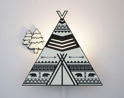 מנורת לילה בצורת אוהל טיפי - שחור לבן