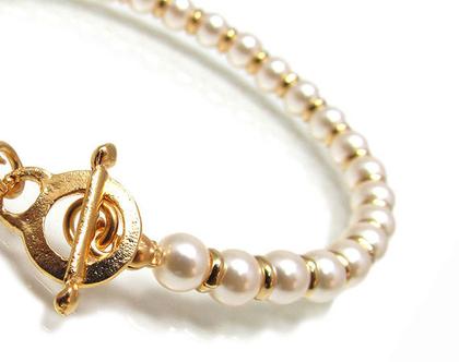 צמיד לכלה , צמיד פנינים , צמיד פנינים לכלה , צמיד זהב , צמיד מתנה , צמיד לאירוע , צמיד לאישה , צמיד עדין , צמיד מעוצב , עבודת יד