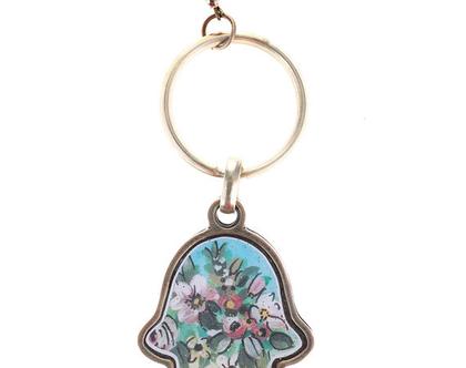 מחזיק מפתחות פרחים ורוד - מיכל מרום