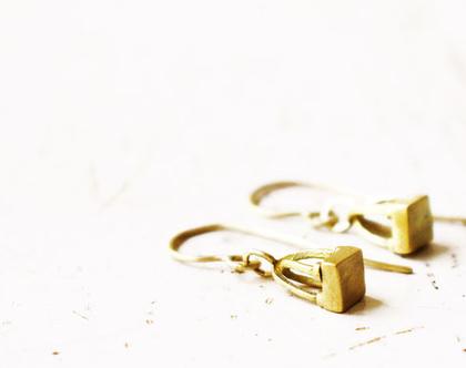 עגילים גאומטריים זהב 14k