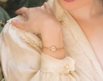 צמיד יד רומנטי, צמיד עדין לאשה, צמיד גולדפילד לאשה, צמיד פרח לאשה צמיד יד לכלה ,צמיד כלה