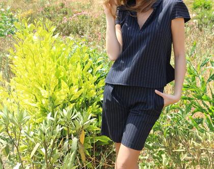 אזלה מהמלאי ! חליפה קייציתחליפת נשים חליפה ליוםיום חליפה ספורטיבית אלגנט חולצה קצרהחולצה עם שרוולמכנס קצר