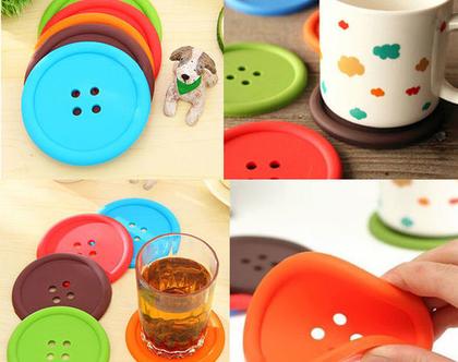 סט תחתיות לכוסות כפתור | תחתיות לכוסות | תחתית לכוס | 5 תחתיות
