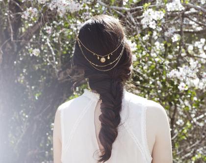 שרשרת שיער מיוחדת לכלות,תכשיט שיער לכלה,תכשיט שיער,סיכת שיער לכלה, נזר לכלה,מסרקייה לכלה, תכשיטי לשיער