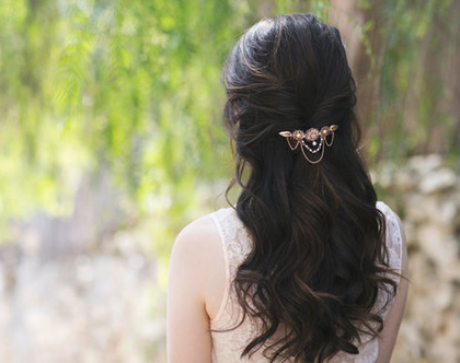 מסרקיית פרחי תחרה,מסרקייה לכלה, מסרקיית שיער לכלה,מסרקית פרחים,מסרקיית עלים, מסרקיה זהב אדום