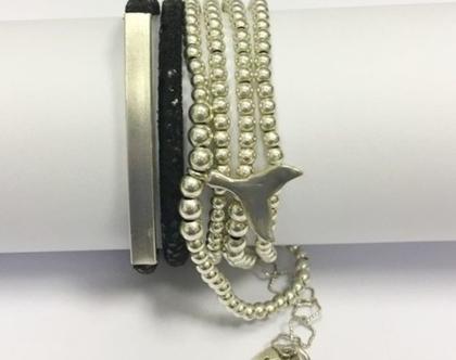 צמיד כדורי כסף בשילוב זנב דולפין