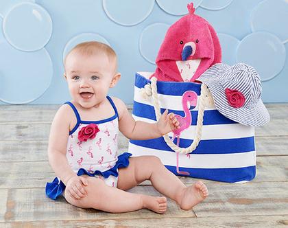 בגד ים לתינוקת - סט מגבת כובע ותיק משלוח חינם