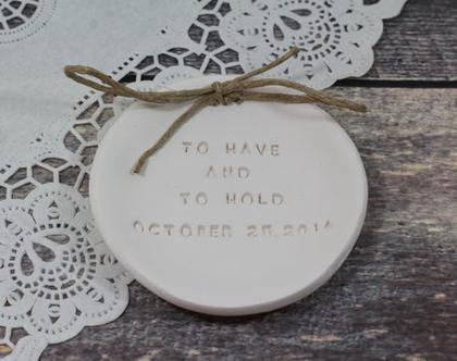 צלוחית לטבעות נישואין   צלוחית לטבעות חתונה To have and to hold   מתנה לכלה   מתנה לחתונה   מתנה ליום נישואין   מתנה לאירוסין   כרית לטבעות